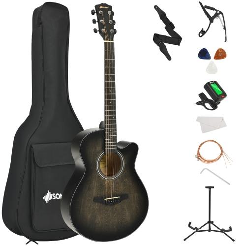 Sonart 40'' Full Size Cutaway Acoustic Guitar Starter Guitarra Bundle Kit Red\Coffee\Black\Green
