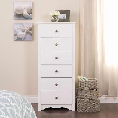 Prepac Monterey Transitional 6-Drawer Chest Of Drawers - White