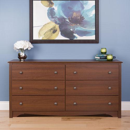 Prepac Monterey Transitional 6-Drawer Dresser - Cherry