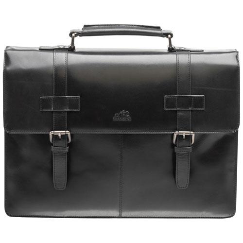 Mallette en cuir à deux compartiments pour portable de 15,6 po Buffalo de Mancini - Noir