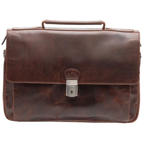 Mallette en cuir à trois compartiments pour portable de 15 po Buffalo de Mancini - Brun