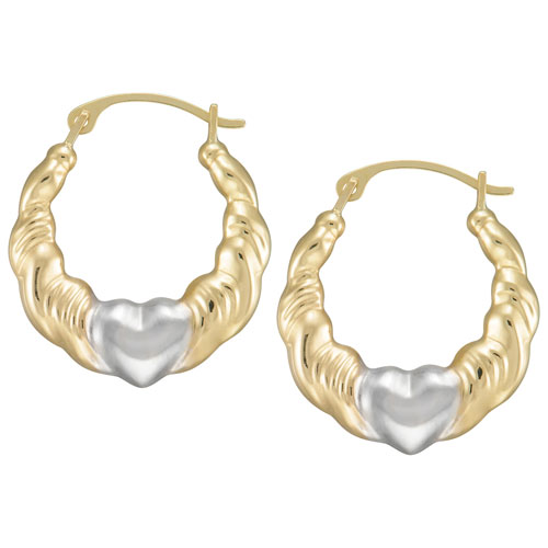 Anneaux avec coeurs en or 14 ct bicolore Le Reve Collection