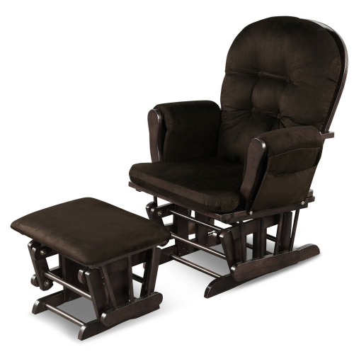 Gymax Glider and Ottoman Cushion Set Wood Baby Nursery Rocking Chair