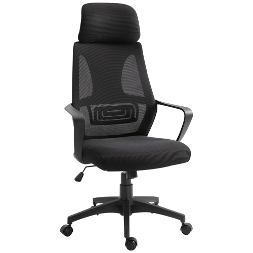 Vinsetto Ergonomic Office Chair with Arm, Wheel, High Mesh Back, Adjustable Height Desk Chair - Black