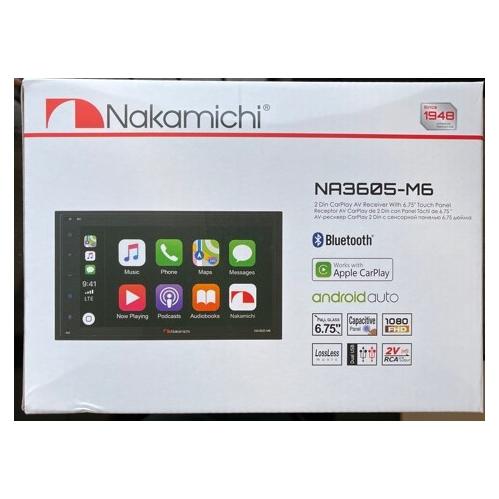 """Nakamich NA3605-M6 Récepteur AV CarPlay 2 Din et Android Auto avec écran tactile 6,75"""""""