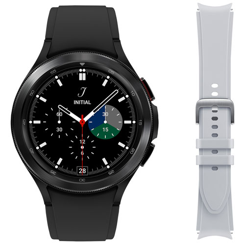 Samsung Galaxy Watch4 Classic 46mm Smartwatch w/ HR Monitor & Extra Strap -Black/Grey -Only at Best Buy
