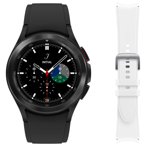 Samsung Galaxy Watch4 Classic 42mm Smartwatch w/ HR Monitor & Extra Strap -Black/White -Only at Best Buy