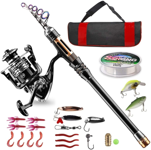 Fishing Rod Kit, Carbon Fiber Telescopic Fishing Pole and Reel Combo with Spinning Reel, Line, Lure, Hooks and Carrier Bag, Fishing Gear Set for Begi