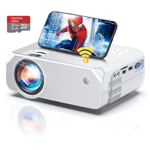 """BOMAKER Portable Projector on sale,Portable Home Theater Projector Wi-Fi Mini Projector,Video Projector Outdoor Movie Projector(Free Gift-100"""" Projec"""