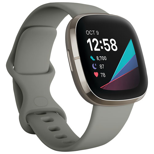 Fitbit Sense Smartwatch with Heart/Stress Management Tools & Voice Assistant -Sage Grey -Only at Best Buy