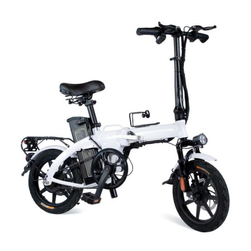XPRIT 14'' Folding Electric Bicycle, Light Weight, LCD Display, Full Throttle/Pedal Assist-WHITE