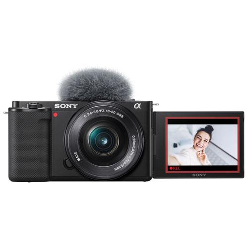 Sony Alpha ZV-E10 APS-C Interchangeable Lens Mirrorless Vlog Camera with 16-50mm Lens Kit - Black