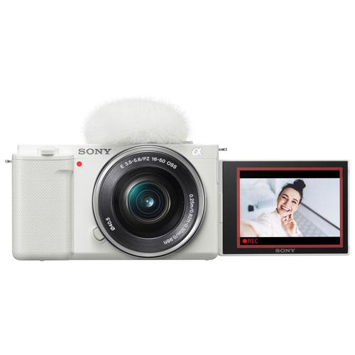 Sony Alpha ZV-E10 APS-C Interchangeable Lens Mirrorless Vlog Camera with 16-50mm Lens Kit - White