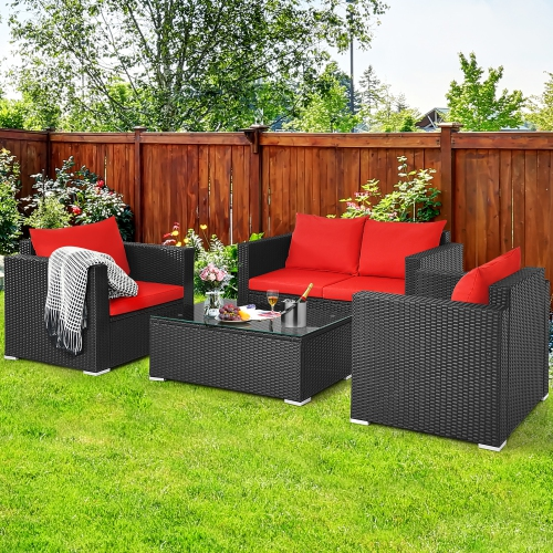 Costway 4PCS Patio Rattan Furniture Set Cushioned Sofa Chair Coffee Table Garden Red