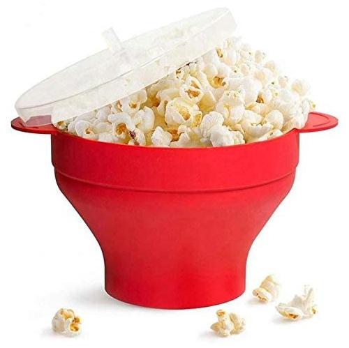 ISTAR Microwaveable Silicone Popcorn Popper, BPA Free Microwave Popcorn Popper, Collapsible Microwave Popcorn Maker Bowl, Dishwasher Safe - Various C