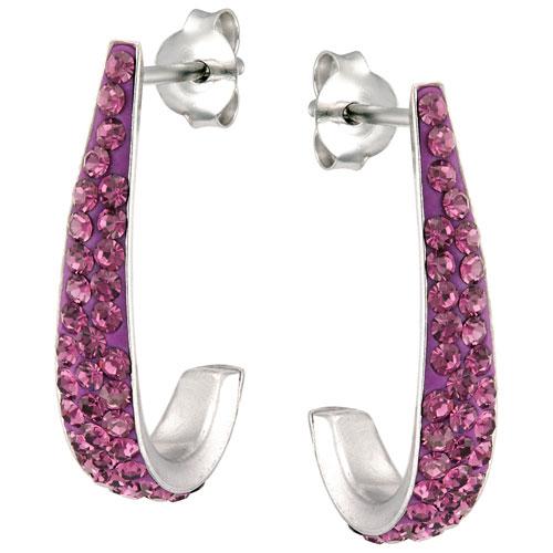 Clous d'oreilles en argent sterling en J avec deux rangs cristaux d'améthyste Le Reve Collection