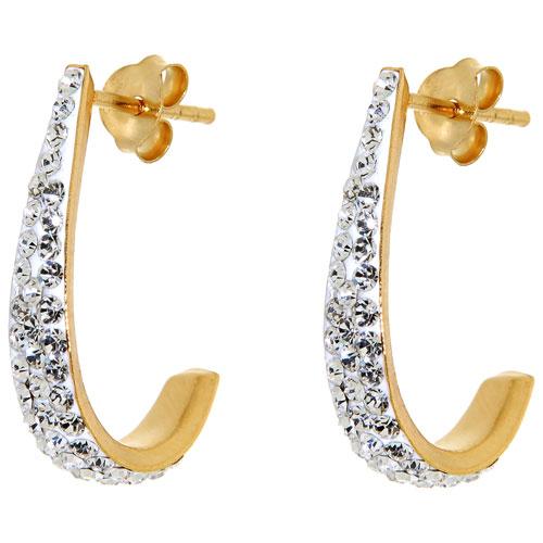 Clous d'oreilles en argent sterling plaqué or en J avec cristaux de Le Reve Collection