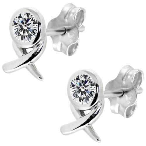 Clous d'oreilles en argent sterling avec zircons cubiques XO Le Reve Collection