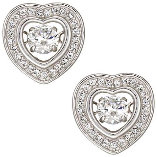Clous d'oreilles en argent sterling en coeur avec zircons cubiques de Le Reve Collection