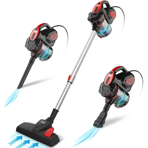 Vacuum Cleaner Corded Bagless Stick 18 KPA Powerful Suction, Multipurpose 3 in 1 Handheld Vac with 6m Power Cord Red