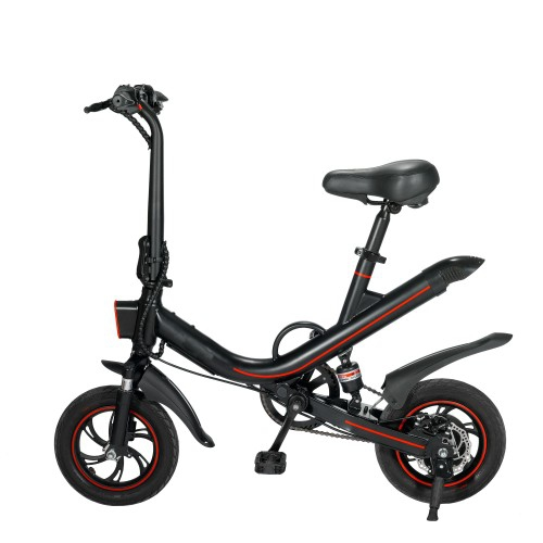 Foldable Electric Bicycle Bike with 350W Motor, 12 Inch Air Tire, Range 20km and 90kg Max Load(Black)