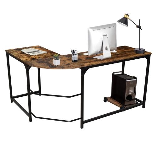 Moustache® L-Shaped Corner Desk 58 Inch Reversible Computer Desk with Removeable Base Unit Shelf