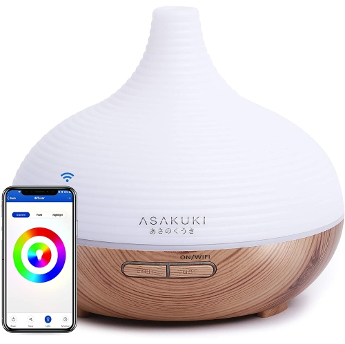 Essential Oil Diffuser, 300ml WiFi Smart Aromatherapy Diffuser Compatible with Alexa, Wood Grain Ultrasonic Humidifier for Home Office Baby