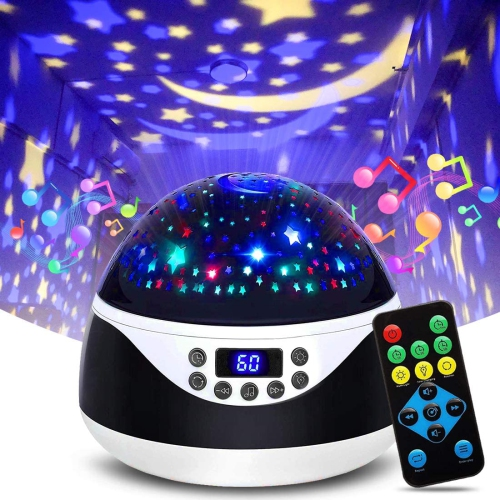 ISTAR Stars Night Light Projector with Timer & Music, Remote Control Projection Lamp for Kids, Rotating Kids Night Lights for Bedroom, Sleep Helper a