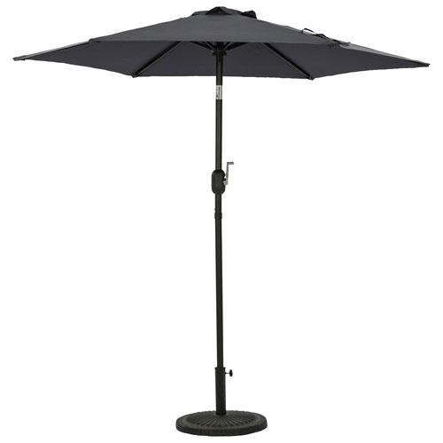 Parasol de patio hexagonal autoportant de 7,5 pi Bistro d'Island Umbrella - Gris ardoise