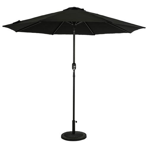 Parasol de patio octogonal autoportant de 9 pi Mirage II d'Island Umbrella - Noir