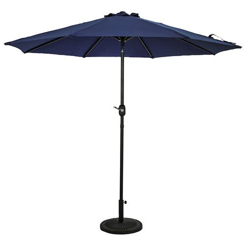 Parasol de patio octogonal autoportant de 9 pi Mirage II d'Island Umbrella - Bleu marine