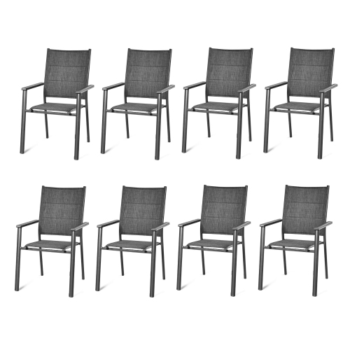 Costway Set of 8 Patio Dining Chair Stackable Padded Armrest No Assembly