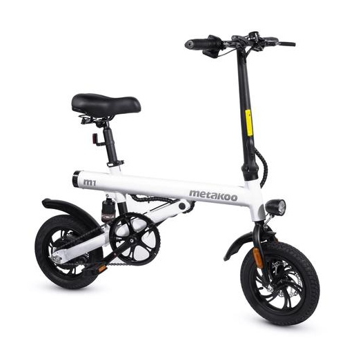 XPRIT 12'' METAKOO Electric Bike, Max Speed 15 MPH, Up to 37 Miles Travel Range, Electric Commuter Bicycle with Rear Suspension, Headlight and Tailli