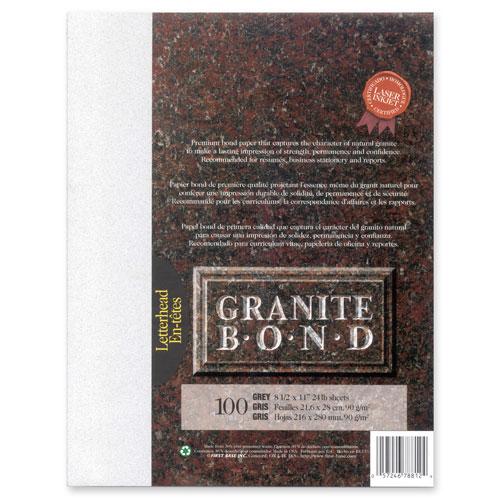 Papier de la collection Granite Bond de First Base - 100 feuilles - Gris