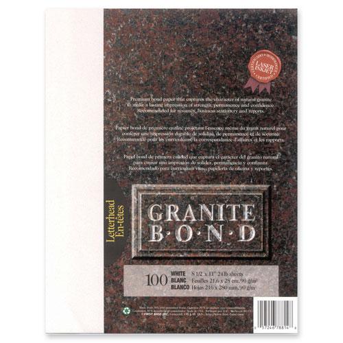 Papier laser Granite de First Base - Lettre - 100 feuilles