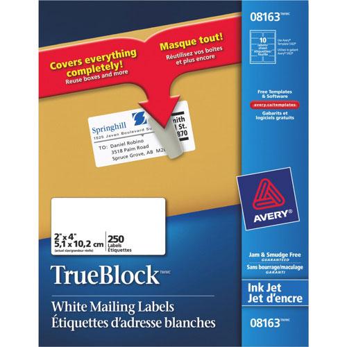 "Avery TrueBlock 2"" x 4"" Mailing Labels - 250 Pack - White"