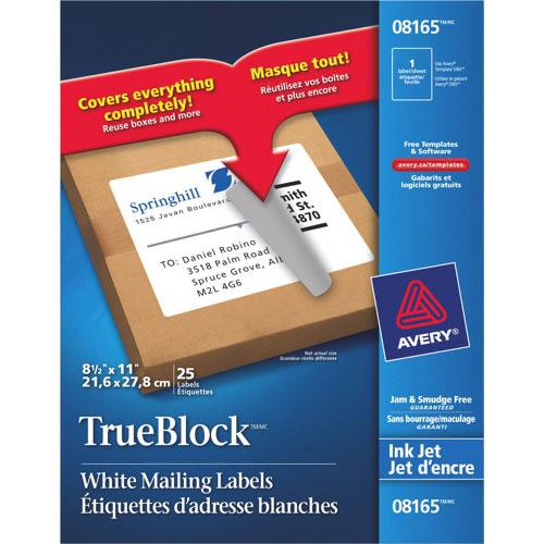 "Avery TrueBlock 8.5"" x 11"" Mailing Labels - 25 Pack - White"