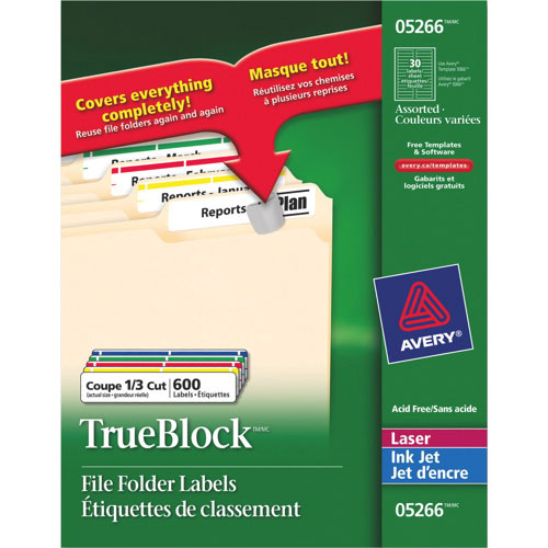 "Avery TrueBlock 21/32"" x 3-7/16"" Laser/Inkjet File Folder Label - 600 Pack - Assorted Colours"