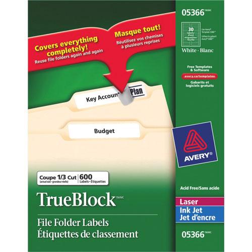 """Avery TrueBlock 21/32"""" x 3-7/16"""" Laser/Inkjet File Folder Label - 600 Pack - White"""