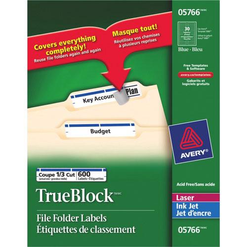 Étiquettes TrueBlock 21/32 x 3-7/16 po d'Avery pour impr. laser/jet d'encre - Paquet de 600 - Bleu