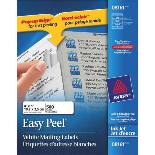 Avery Easy Peel Mailing Labels - 500 Pack - White