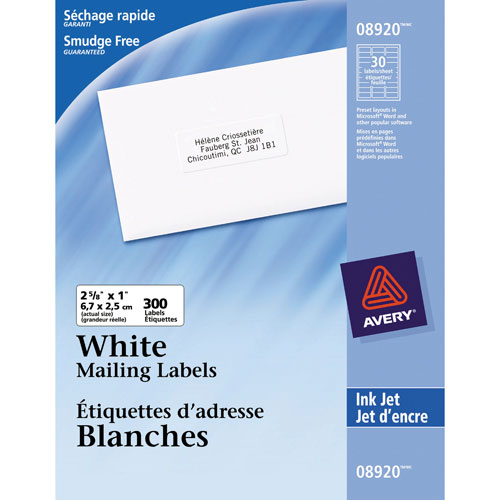 "Avery 2 5/8"" x 1"" Ink Jet Mailing Labels - 300 Pack - White"