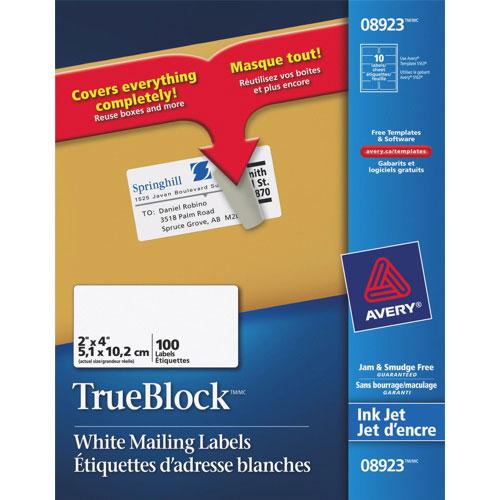 Étiquettes d'adresse 2 x 4 po TrueBlock d'Avery - Paquet de 100 - Blanc