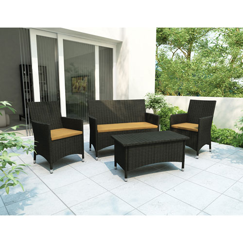 Sonax Cascade 4-Piece Patio Conversation Set - Black