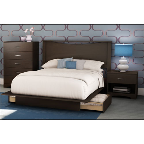 4 Piece Step One Contemporary Queen Bedroom Set Chocolate