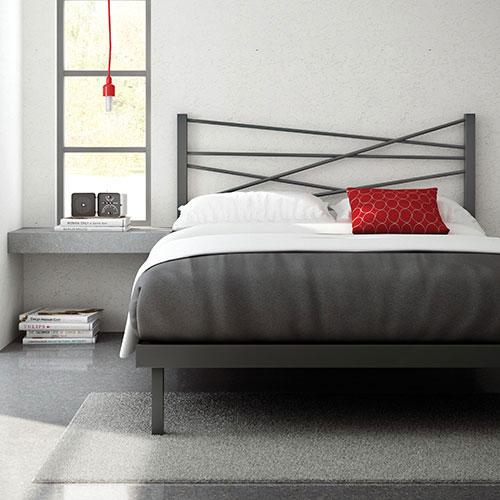 Amisco Crosston Modern Queen Metal Platform Bed Magnetite