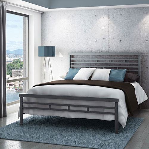 amisco highway modern queen metal bed magnetite