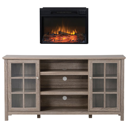 Homestar provence 65 console tv stand flamelux electric for Meuble mural audio video