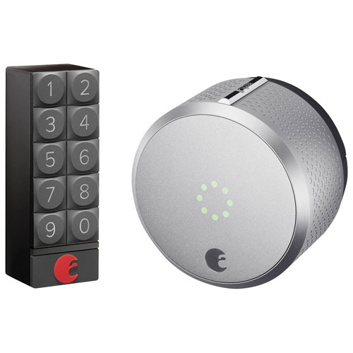 August Smart Lock HomeKit-Enabled & Keypad - Silver/Dark Grey