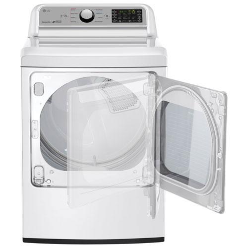 lg 58 cu ft high efficiency top load washer u0026 73 cu ft electric steam dryer white